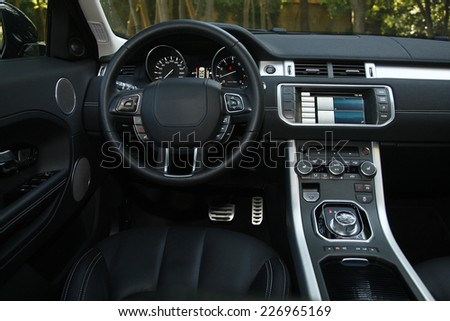 Modern car interior - stock photo