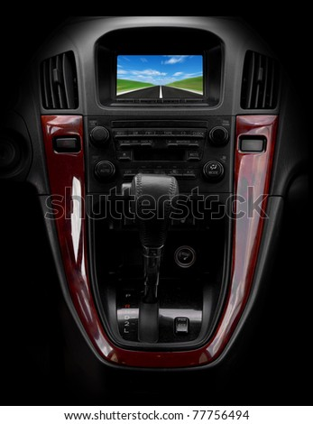 Modern car interior: brown wood and leather - stock photo