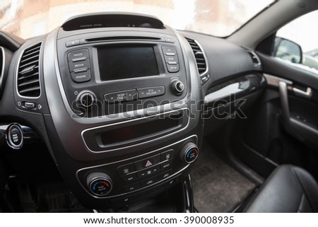 Modern car interior, dashboard with monitor and music station. Fisheye view - stock photo