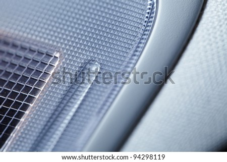 Modern car interior, macro shot, low depth of focus - stock photo