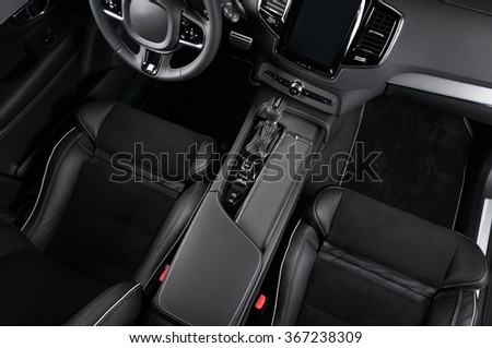Modern car interior, view from the top, no labels - stock photo