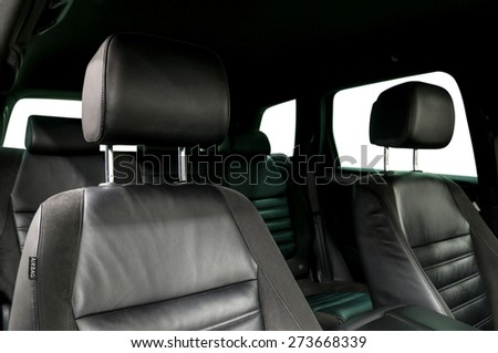 Modern car leather seats. Interior detail. - stock photo