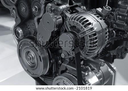 Modern car power engine details - stock photo