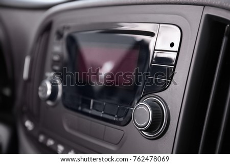 Modern car radio, closeup