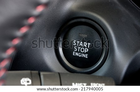 modern car's engine start-stop button