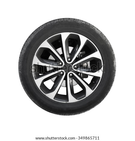 Modern car wheel isolated on white background - stock photo