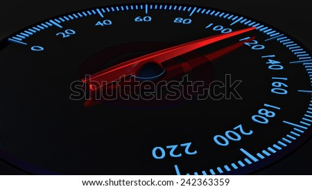 Modern carbon fiber speedometer with red and blue glow.