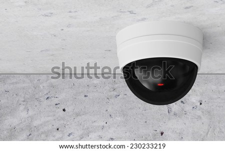 Modern CCTV Security Camera on the Ceiling - stock photo