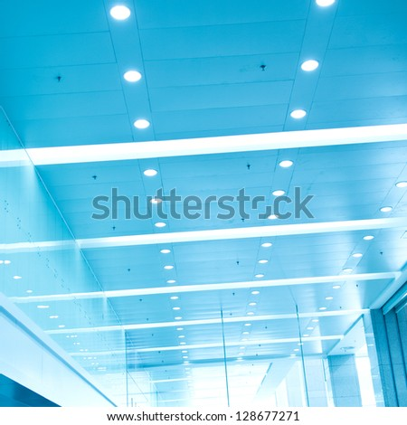 modern ceiling of office center. - stock photo