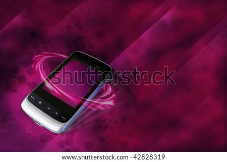 modern cell phone in luxury  bordaux background - stock photo