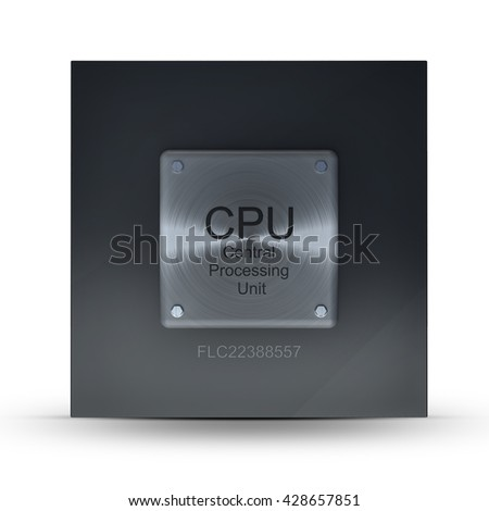 Modern central computer processors CPU on white background. High resolution 3d render - stock photo