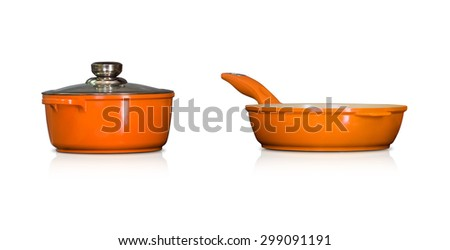 Modern ceramic pot and pan in orange color - isolated on white background - stock photo