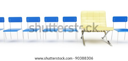 modern chair and a number of simple chairs on a white background