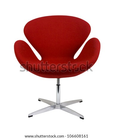 Modern chair in metal and red fabric - stock photo