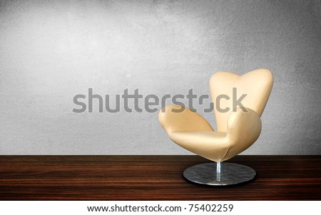modern chair in vintage interior room - stock photo