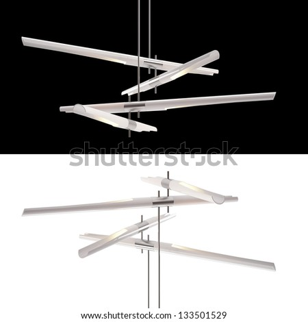 Modern Chandelier isolated on black and white - stock photo