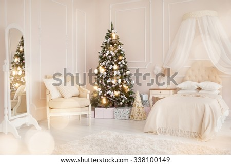 modern child's bedroom with Christmas tree - stock photo