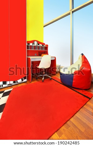 Modern children room interior with red furniture
