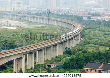 Modern Chinese high speed railway aerial view