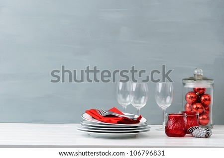 Modern christmas decoration table display in simple, elegant, minimalist style with lots of copy space - stock photo