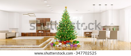 Modern christmas interior with fir tree panorama 3d rendering - stock photo