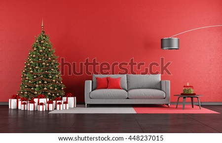 Modern christmas living room with sofa,tree and present - 3d rendering