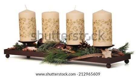 modern christmas wreath - stock photo