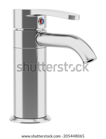 modern chrome faucet isolated on white background