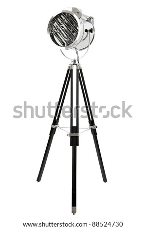 modern chrome floor lamp with three black wooden legs, isolated on white - stock photo
