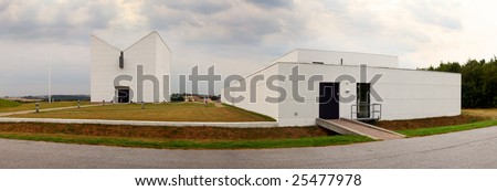 modern church in denmark in scandinavia. evangelic Lutheran place of worship - stock photo