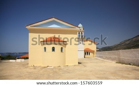 Modern Church in Kefalonia which replaces the old Panayia Sision Monastery - stock photo