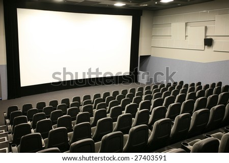 Modern cinema and wide white screen - stock photo