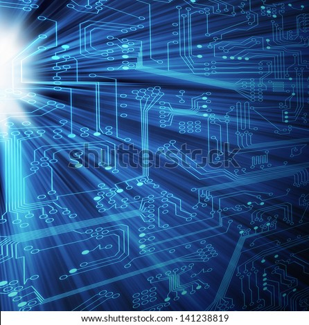 Modern circuit board with light rays shining through with a blue theme. Great to represent electronic technology. - stock photo