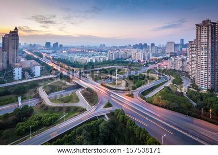 Modern city, a busy overpass - stock photo