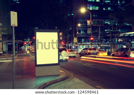Modern city advertising light boxes - stock photo