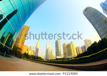 Modern city and office building in the evening - stock photo