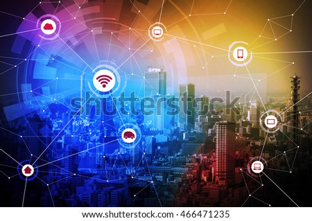 portfolio van chombosan op shutterstock modern city and wired network concept icons iot internet of things cps