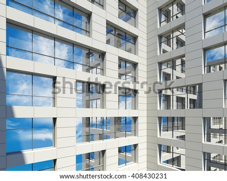 Modern city architecture, windows with cloudy sky reflections in white walls. Blue toned 3d render illustration - stock photo