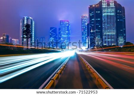 Modern City at Night - stock photo