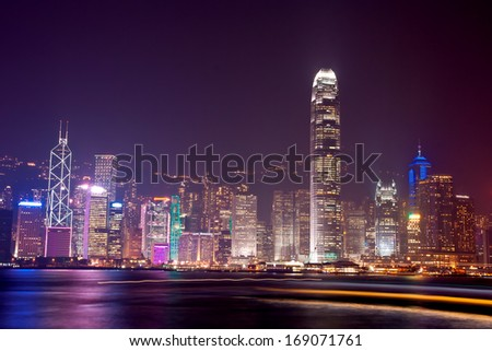 Modern city at night, Hong Kong, China