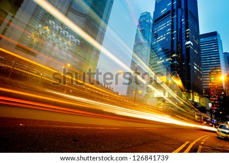 modern city at night  in hongkong - stock photo