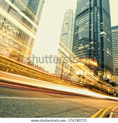 modern city at night  in hongkong - stock photo