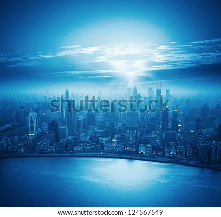 modern city at sunset,shanghai skyline. - stock photo