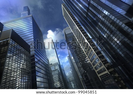 Modern city building with dramatic sky - stock photo