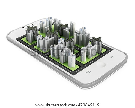 Modern city buildings on the smartphone screen. 3D illustration.
