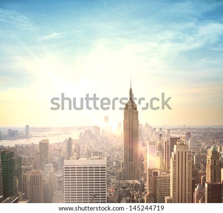 modern city evening bird's-eye view - stock photo