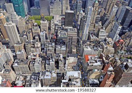 Modern city from height of the bird's flight - stock photo