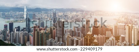 Modern city, Hong Kong, China. - stock photo