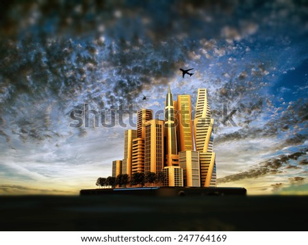 modern city island on a floating smartphone - stock photo