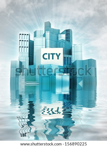 modern city island with water reflections and sky render illustration